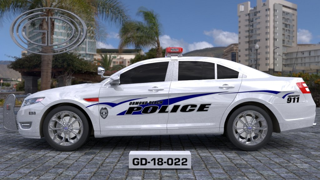 sideview design of a town of an ormond beach police car