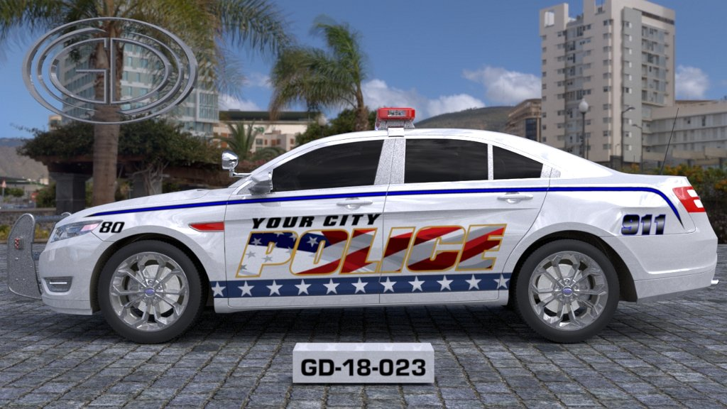 sideview of a white USA flag designed police car