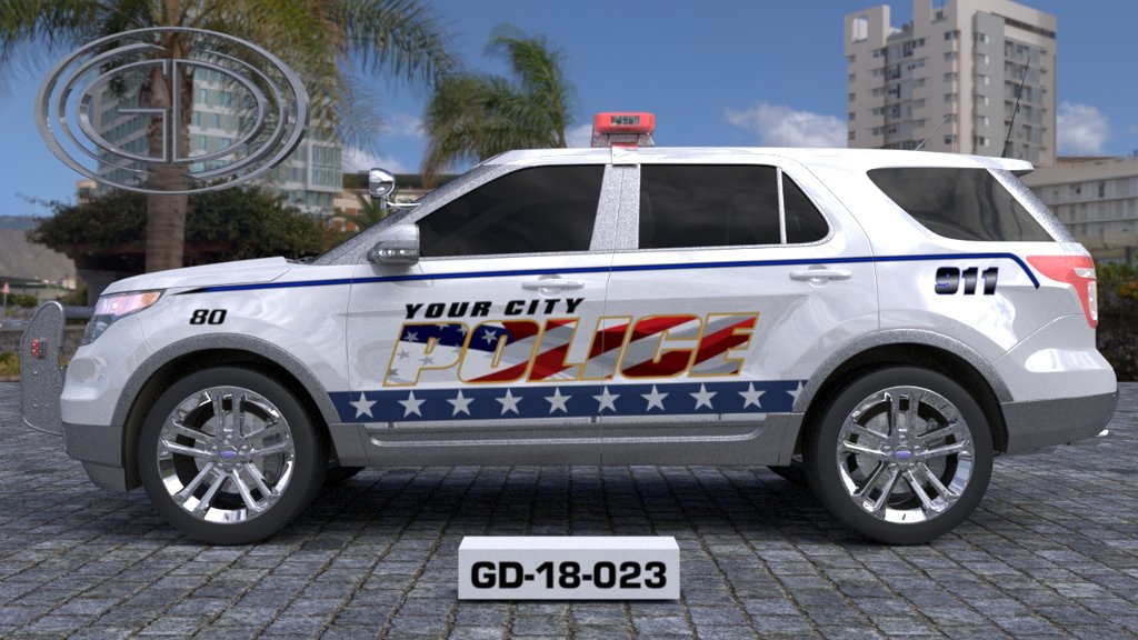 sideview design of a your city police suv car GD-18-023