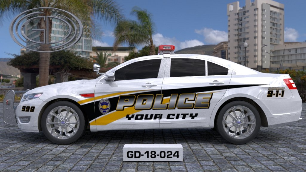 sideview design of a your city police car GD-18-024