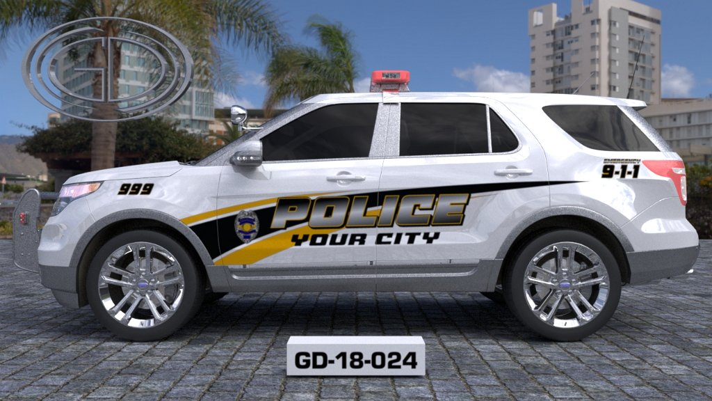 side view of white police car