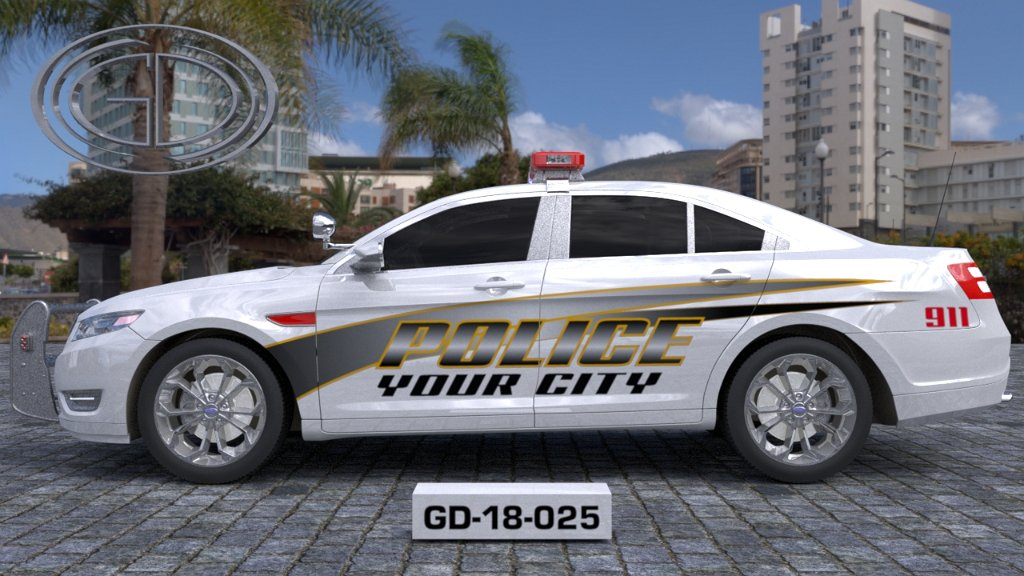 sideview design of a your city police car GD-18-025
