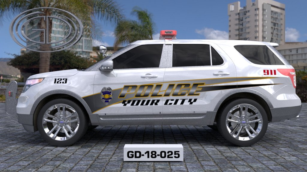 sideview design of a your city police suv car GD-18-025