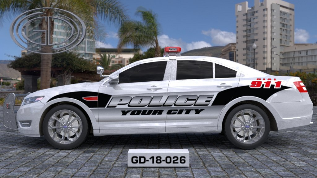 sideview design of a your city police car GD-18-026