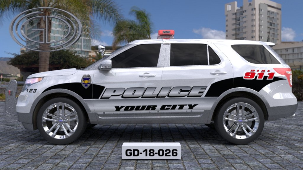 sideview design of a your city police suv car GD-18-026