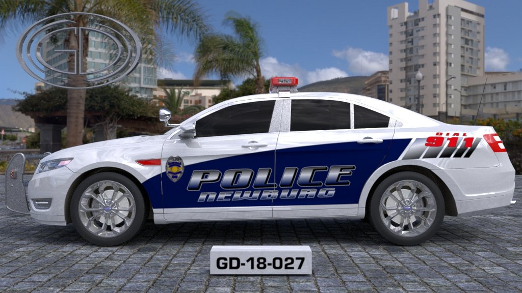 sideview of a white blue designed police newburg car