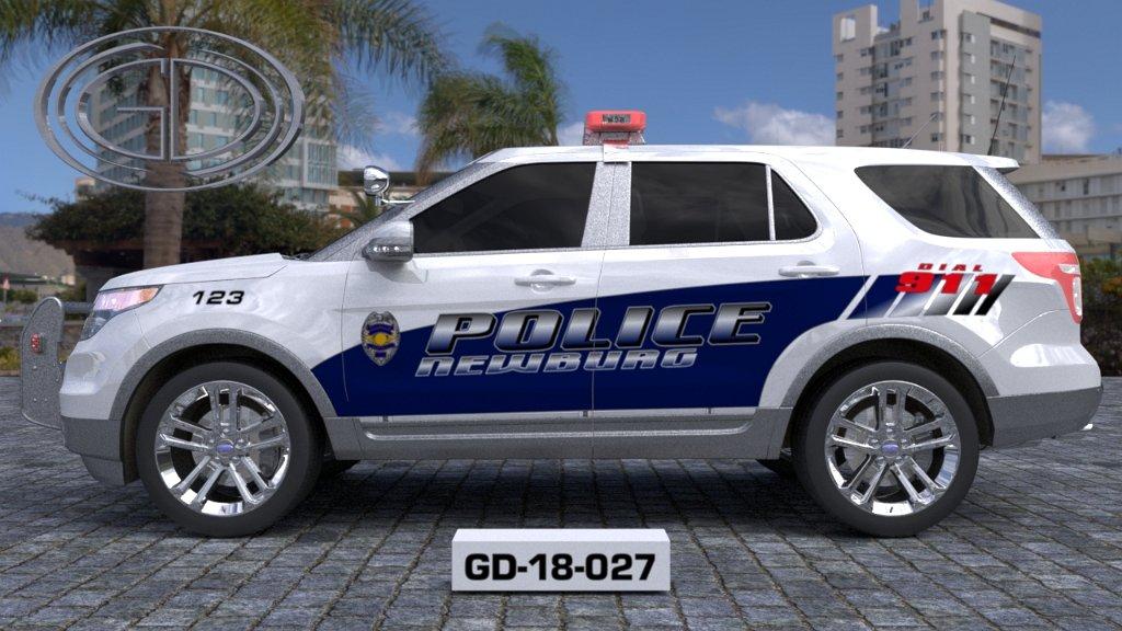sideview design of a newburg police suv car GD-18-027