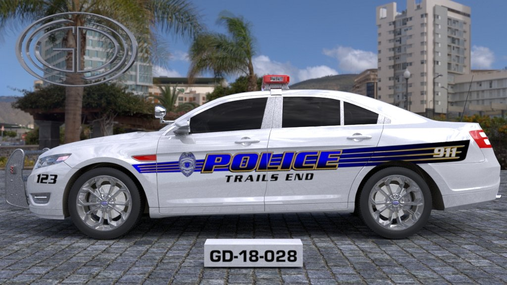 sideview design of a trails end police car
