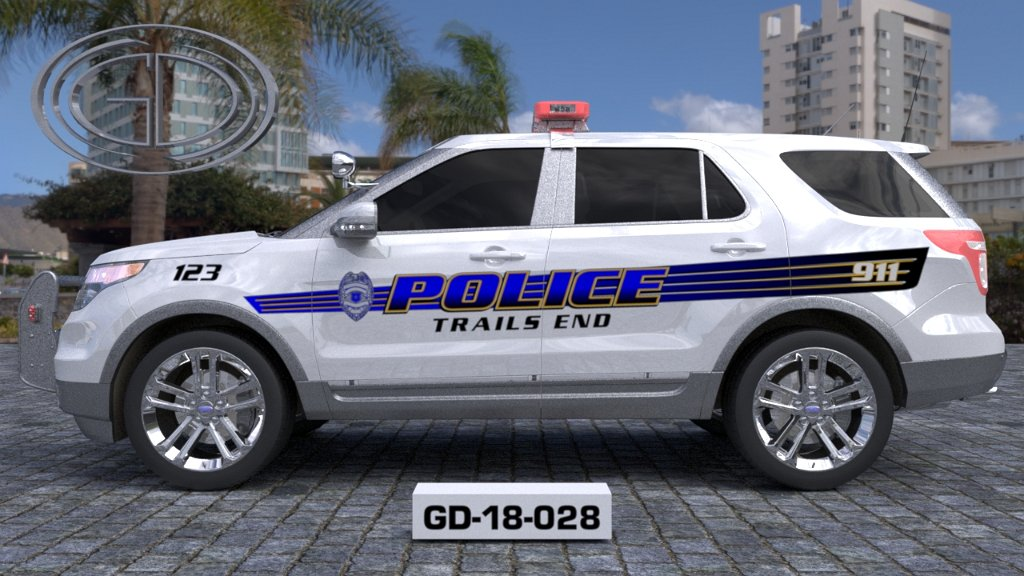 sideview design of a trails end police suv car GD-18-028