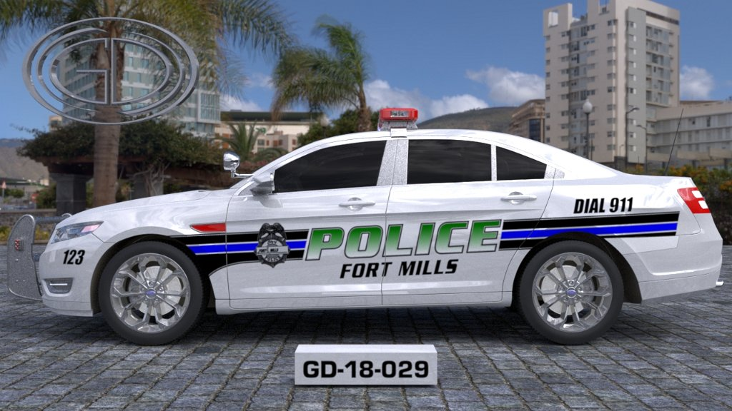 fort mills white police car with blue and black line design