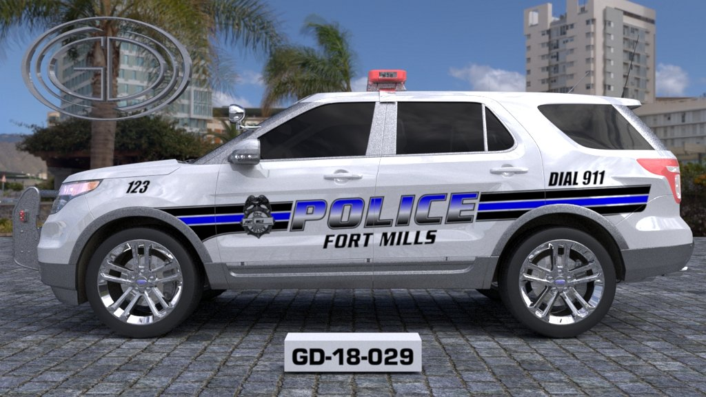 sideview design of a fort mills police car GD-18-029