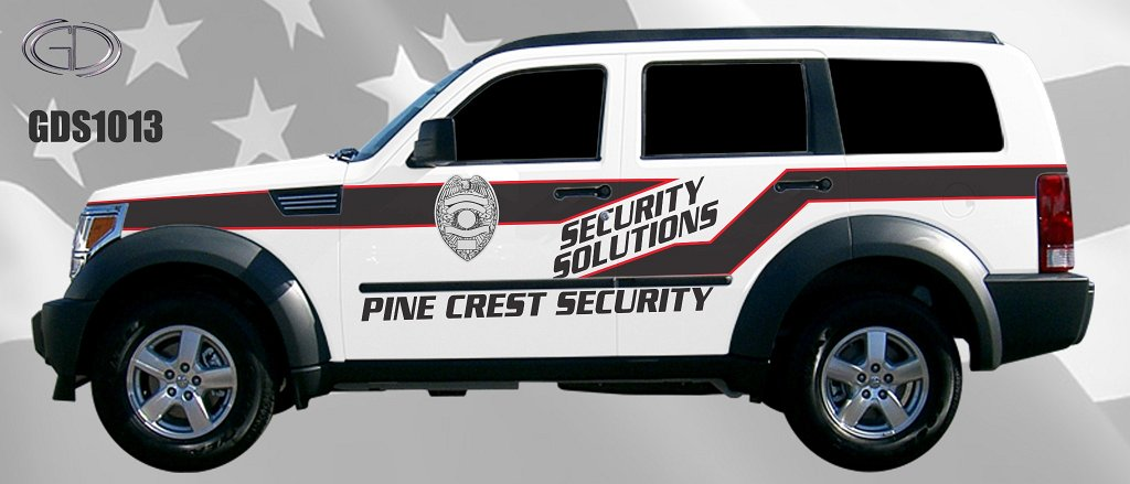 gdi sketch security solutions car with red and dark grey line design