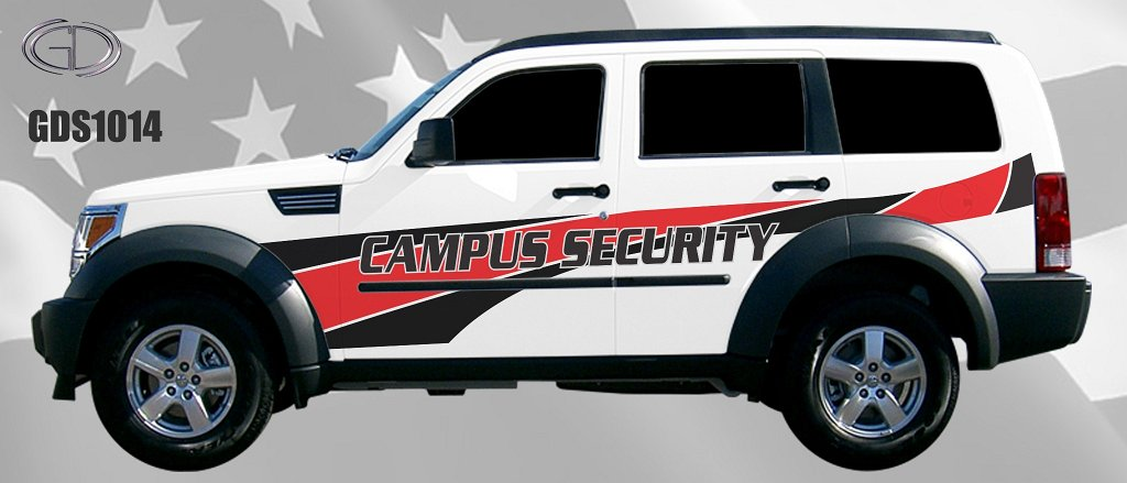 gdi sketch campus security car with red and black line design