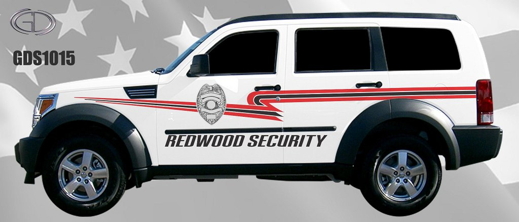 white redwood security car with red and black font design