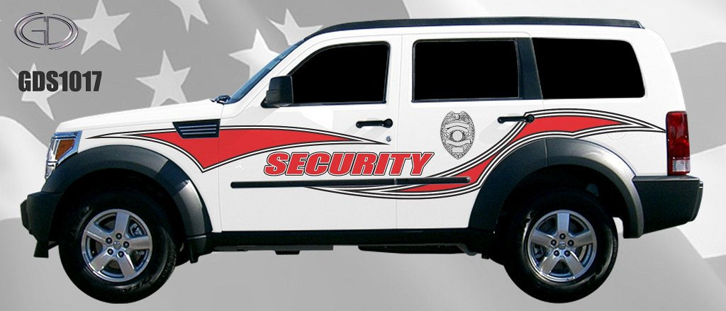 gdi sketch design for security car with combination of red and white