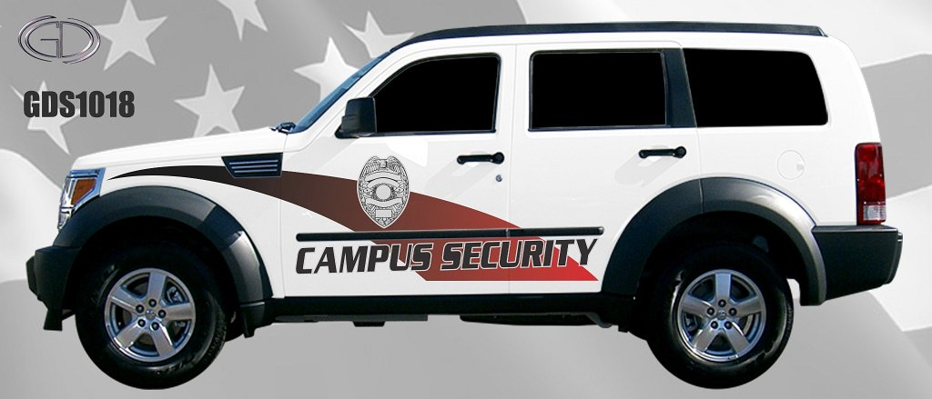 gdi sketch campus white security car with logo and red line design