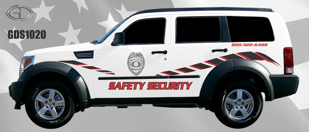 white and black safety security car graphic design