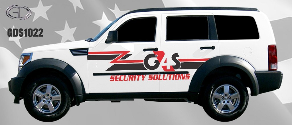 sideview design of a G4S security solution suv car
