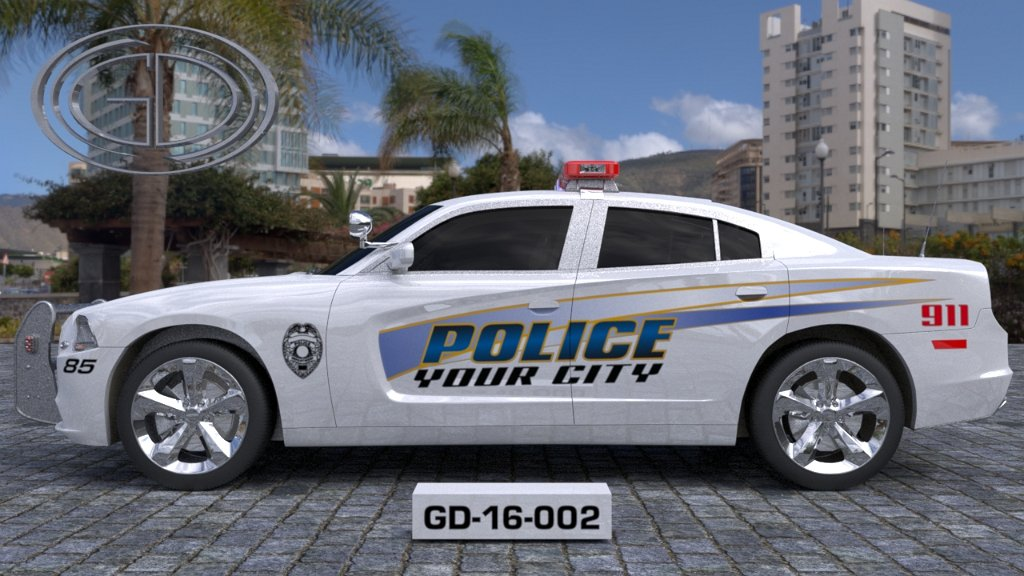 sideview design of a your city police car GD-16-002