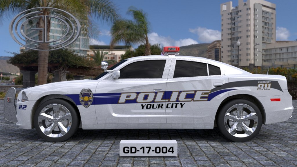 sideview design of a your city police car GD-17-004