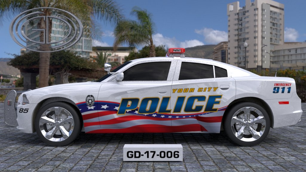 sideview design of a your city police car GD-17-006