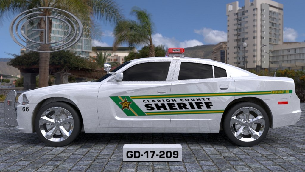 sideview design of clarion county sheriff car
