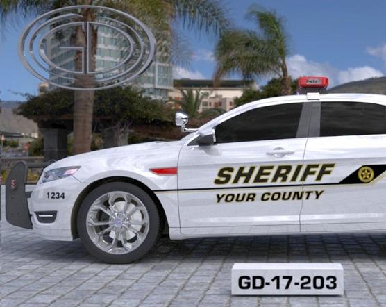 white sheriff car with logo design