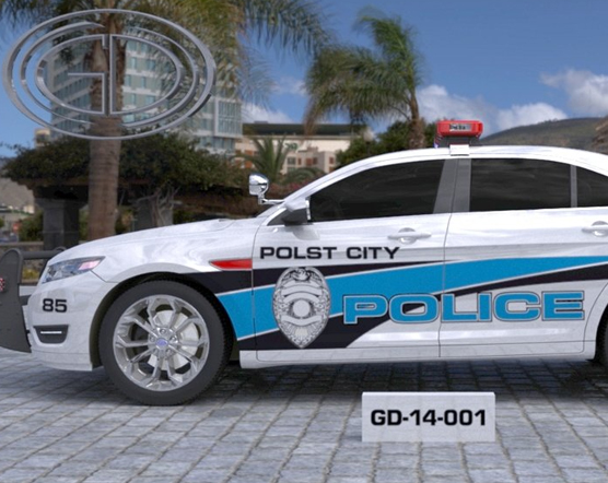white polst city police car with logo and color blue and black line design