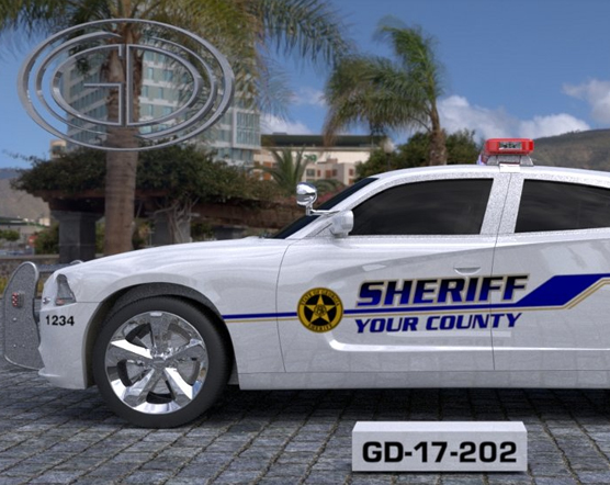 white sheriff county car with blue font design and logo