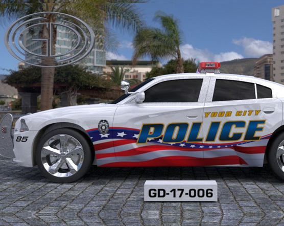 american flag graphic design of white police car