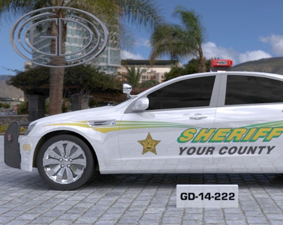 white sheriff car design with yellow and green fonts