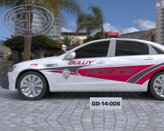 white gulliy police car with pink and grey color design