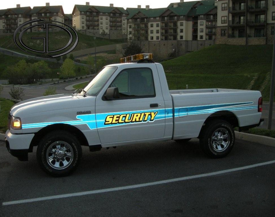 sideview design of a security pick up car