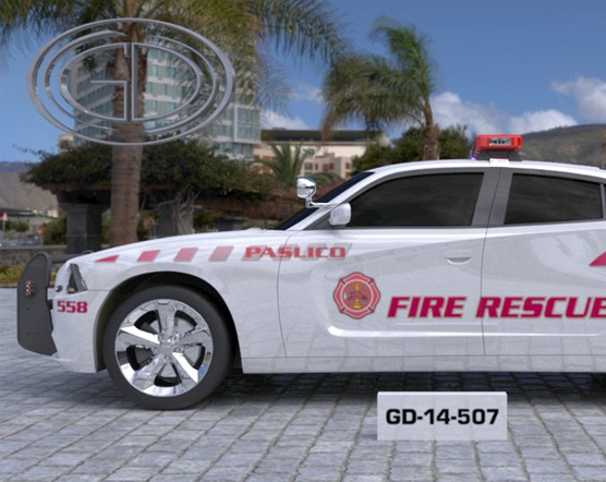 white fire rescue car parked near the tree