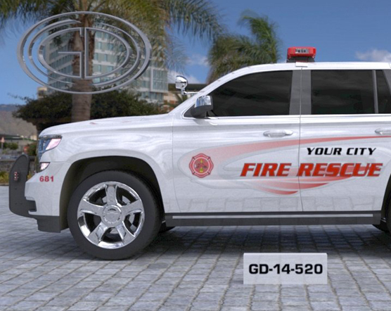 white and red graphic design of fire rescue car