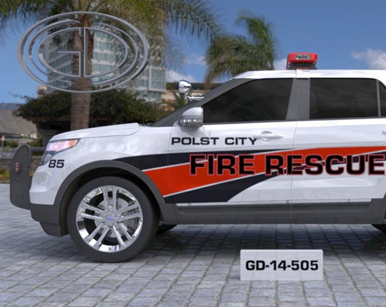 sideview design of a polst city fire rescue car