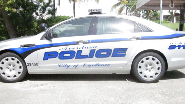 white aventura police car with blue and black line design