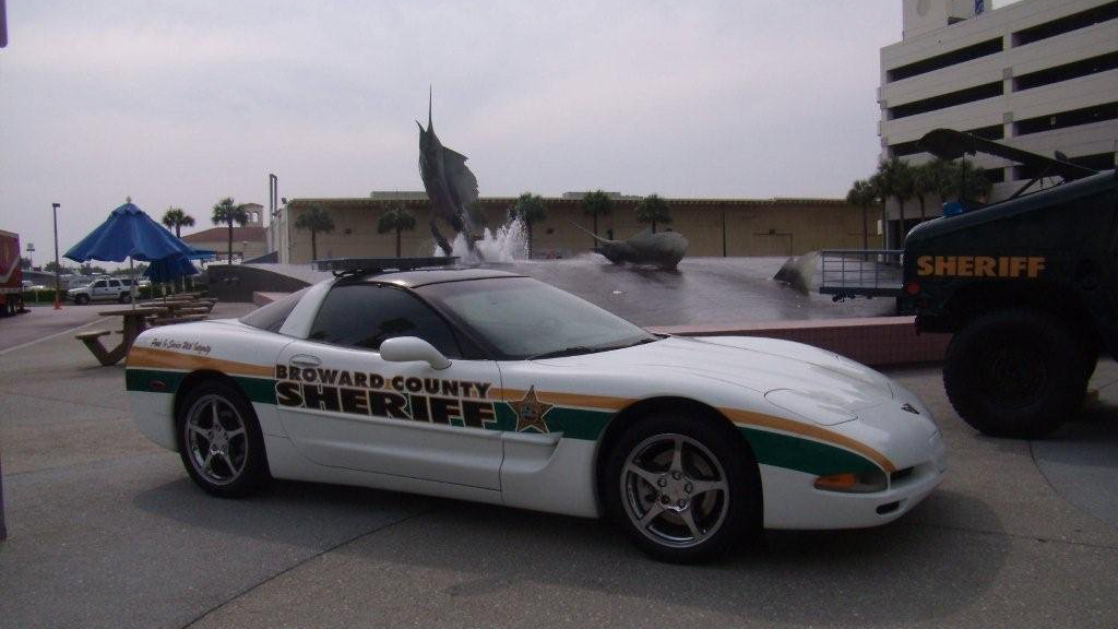 broward county sheriff white car with yellow and green line design