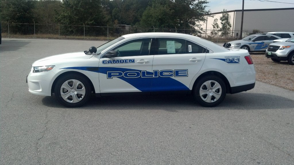 white camden police car with blue font design