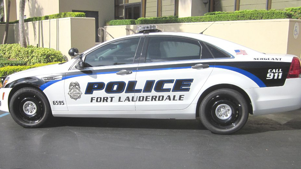 fort lauderdale white police with blue and black font color design