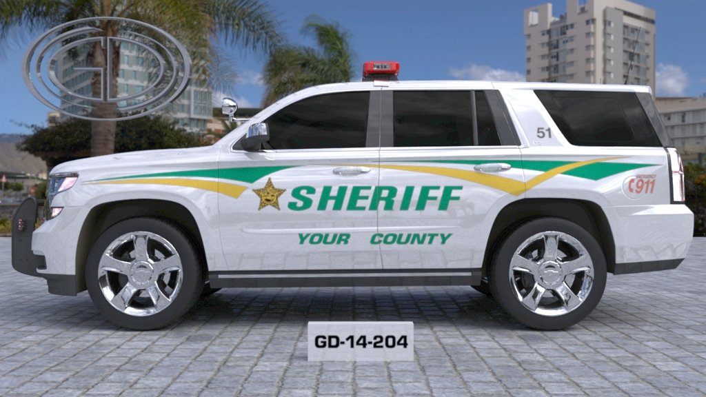 sideview design of a your county sheriff suv car GD-14-204