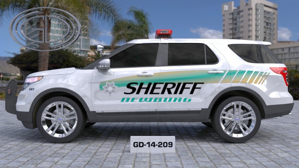 sideview design of sheriff white suv car GD-14-209