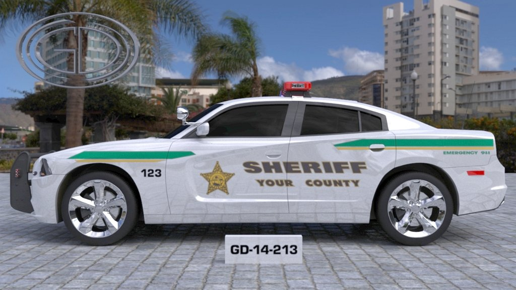 no label white sheriff car with yellow and green line design