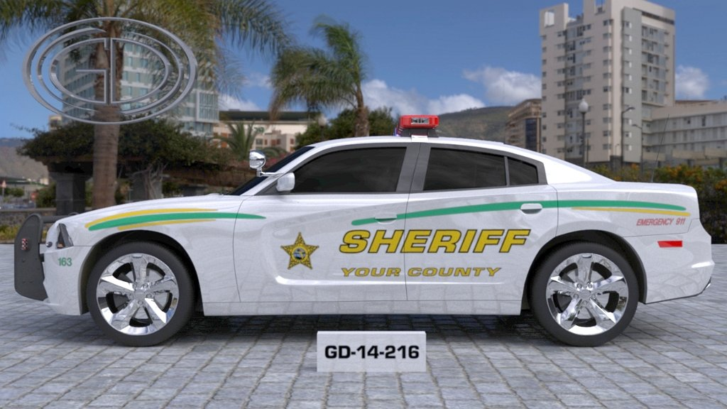 white sheriff car with green and yellow font and line design