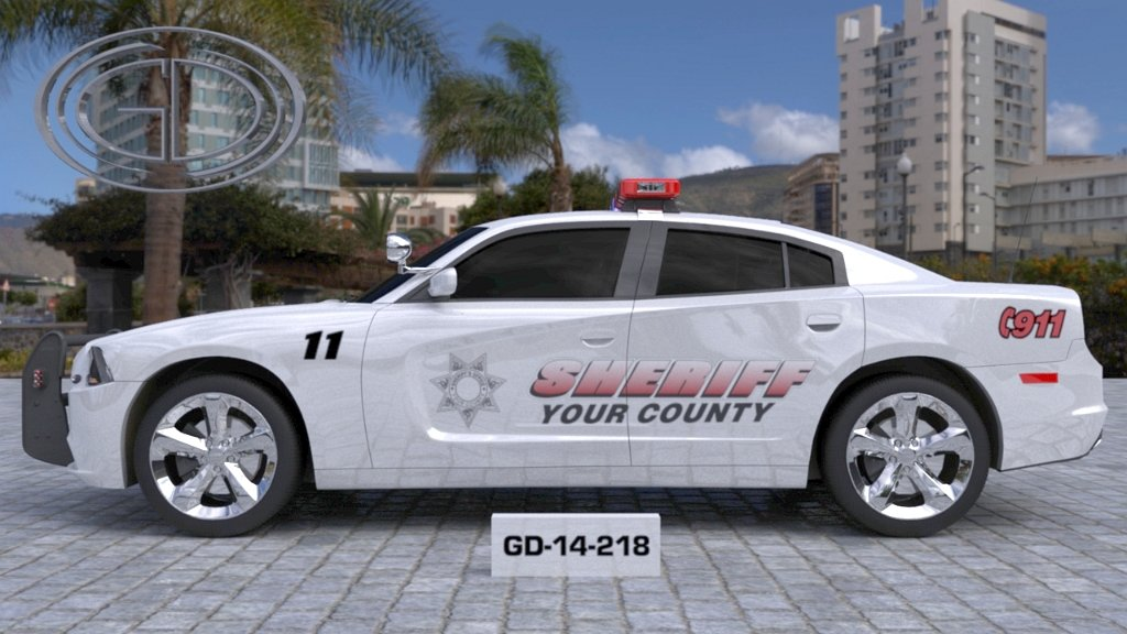 white sheriff car with light pink font and logo design