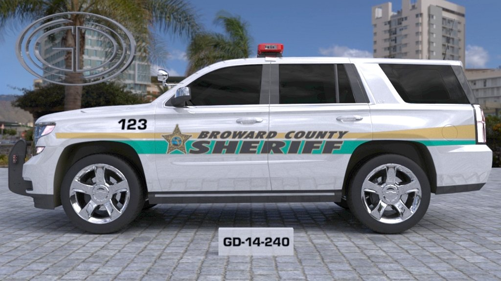 white broward sheriff car with light green and yellow line design