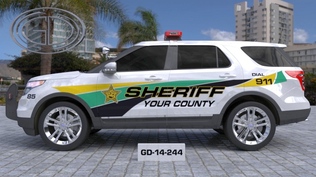 sideview design of a your county sheriff suv car GD-14-244
