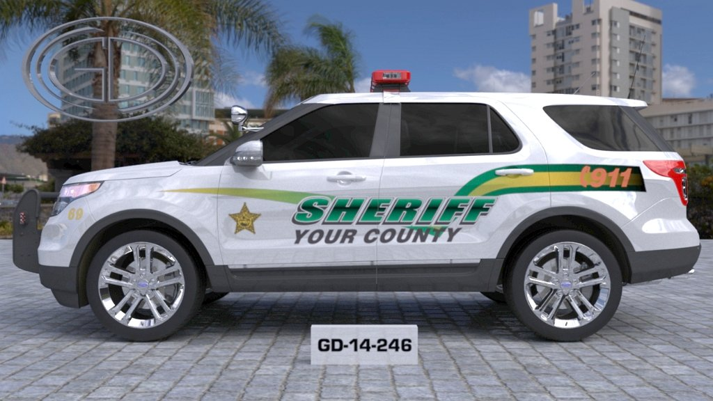 sideview design of a your county sheriff suv car GD-14-246