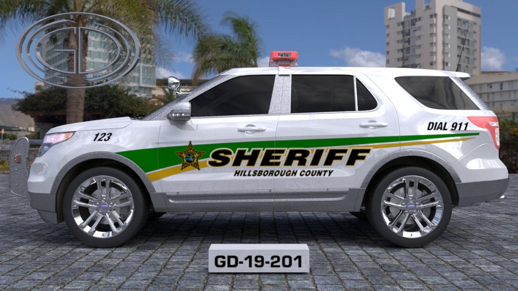 sideview design of a hillsborough county sheriff suv car GD-19-201