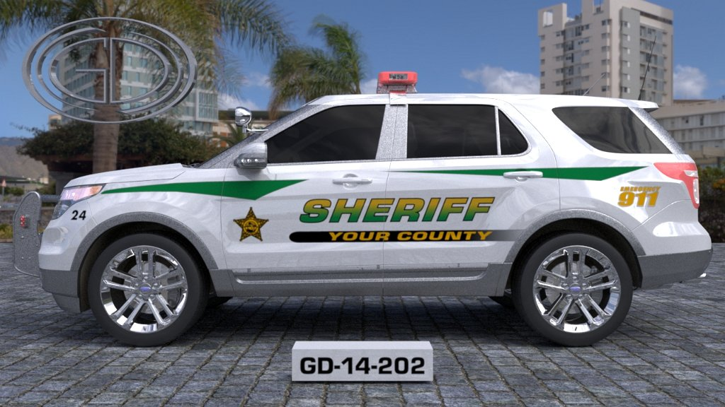 sideview design of a your county sheriff car GD-19-202